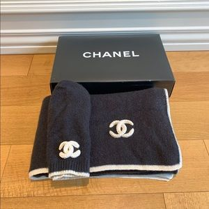 Chanel Beanie Hat and Matching Scarf